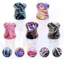 PAIR (2) Marble Swirl Multi Colored Acrylic Plugs Gauges Saddle Ear Tunnels