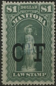 Canada VanDam #ML11 $1.00 Manitoba Law Stamp (CF Overprint) used, of 1877