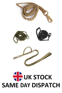 Stretchable Nylon Dog Leads Military Double Handle Leash Bungee Tactical Lead