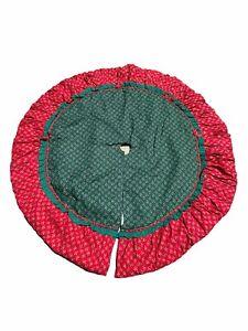"""Christmas Tree Skirt Reversible Green Red White Holly Bears 58"""" Diameter"""
