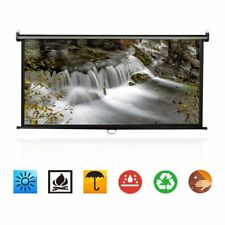 "100"" 16:9 Manual Pull Down Projector Screen 16:9 Matte HD Home Movie Theater UK"