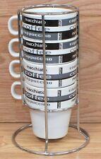 Genuine IMUSA Espresso/Macchiato/Cappuccino Staking Ceramic Mugs On Rack *READ*