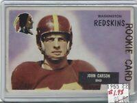 Johnny Carson  Washington Redskins  Rookie Card  1955 Bowman 22