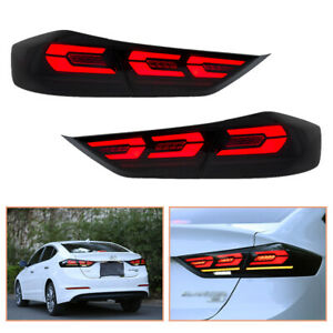 For Hyundai Elantra 16-18 Dark LED Tail Lights Sequential Replace OEM Rear Lamp