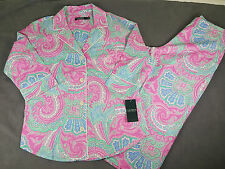 NWT RALPH LAUREN WOMEN COTTON PINK BUTTON SHIRT + PAJAMA SLEEP PANTS SET SZ M MD