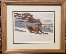 Don Balke Signed Cougar in Snow Lithograph