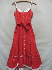 W3147 Gunne Sax by Jessica Red Floral USA Made Vintage Button Up Dress Women S