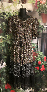 Art Class Girls Romper Dress SZ XL 14/16 Black Floral Shorts Tiered Lace Pokedot