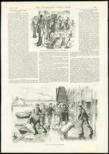 1889 Antique Print LONDON DOCKLANDS East India Dock Dockers Strike  (136)