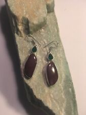 "Attractive MOOKAITE + GREEN QUARTZ EARRINGS 2.3""-E1606"