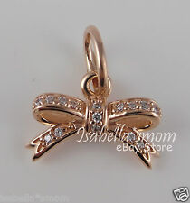 SPARKLING BOW 100% Genuine PANDORA Rose GOLD Plated/Clear CZ Pendant/Charm NEW