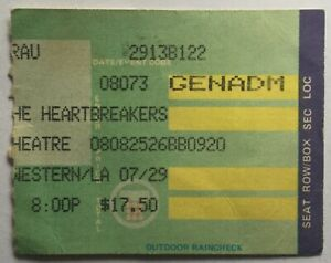 Tom Petty Original Used Concert Ticket Wiltern Theatre Los Angeles 7 Aug 1985