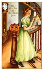 Vintage Halloween Woman on Staircase w. Candle Fabric Block -Buy 2, Get 1 FREE!