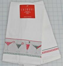2 Luzmont Kitchen Tea Towels Christmas Candy Cane Cocktails Martini 100% Cotton