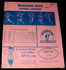 MADISON HIGH SCHOOL 1968 FOOTBALL PROGRAM vs JACKSON PORTLAND OREGON ROSTER