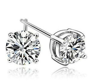 Swarovski Crystal Silver Plated Stud Earrings Free Shipping!