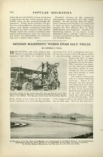 1920 Magazine Article Salt Harvesting Industry in Utah Machinery Railway