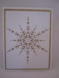 Handmade Christmas Card Snowflake in Gold or Blue Blank Inside U Choose How Many