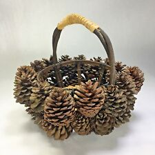 CRATE & BARREL Real Pine Cone Wood Twig Rustic Primitive Basket