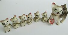 Figurine Cat 6 Kittens Chain Porcelain Proud Mother Tag Brown Cream Japan Vtg