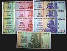 10 Zimbabwe banknotes-3 x 1,5,10 Billion/1 x 20 Billion-paper money currency