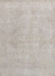 Antique Muted Tebriz Distressed Hand-knotted Evenly Low Pile WOOL Area Rug 10x11