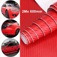 2m x 600mm Film Sticker Red 3D Carbon Fiber Vinyl Wrap Roll Car Bike Sticker