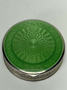 Ornate Austrian Guilloche Gilt .935 Silver Green Enamel Compact Pill Box Signed