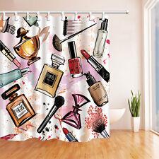 Fashion Paris Cosmetic Theme Pattern Print for Bathroom Shower Curtain 72 Inch
