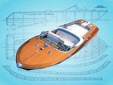 """Model Boat Plan 1/12 Scale 29"""" twin electric Riva Aquarama Full Size Print  Plan"""