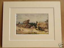 RUSTHALL COMMON TOAD ROCK TUNBRIDGE WELLS KENT ANTIQUE MOUNTED PRINT RARE 10X8