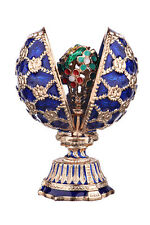 Faberge Egg with Russian Coat of Arms & Bouquet of Flowers 2.8'' (7 cm) blue