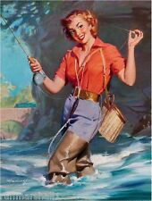1940s Pin-Up Girl Gone Fishing Picture Poster Print Vintage Art Pin Up