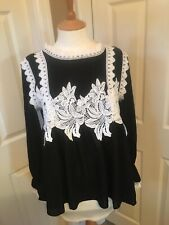 Jj's Fairyland Black And White Lace Top Size Uk 12