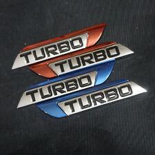 Pair Red + Pair Chrome Blue TURBO Metal Badge Sticker Emblem 3D Hatchback Motors