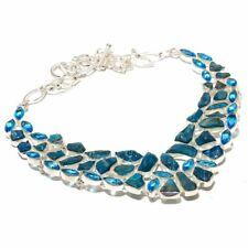 "Neon Apatite Rough & Blue Topaz Gemstone Ethnic 925 Silver Jewelry Necklace 18"""