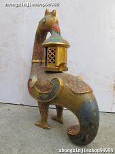 Royal 100% Pure Bronze  cloisonne phenix Bird Mobile lantern Candle Holders