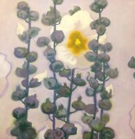 Framed 24x24 Hollyhocks flowers Still Life Modern Impressionism Art Oil Painting