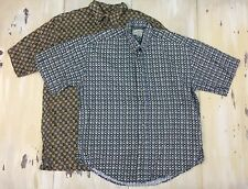 NATURAL ISSUE - 2 Vtg 90s Mens SS Button-up Abstract Design Shirts, Sz LARGE