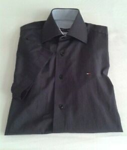 Tommy Hilfiger Men's Short Sleeve Pinstripe Shirt In Black Size Small