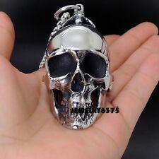 Silver Stainless Steel Huge Skull Head Pendant Necklace Mens Biker Boys Jewelry