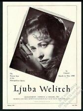 1949 Ljuba Welitsch photo opera singing recital tour booking trade print ad