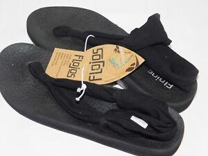 NWOB WOMENS SIZE 8 BLACK FLOJOS ZEN CUSHIONED FLIP FLOPS SANDALS 1042571