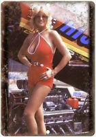 "Linda Vaughn Hurst Racing Track Photo 12"" X 9"" Retro Look Metal Sign A482"