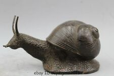 Folk Chinese Pure Bronze FengShui Wealth Snail Shell Turbo Helix Statue Figurine