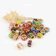 Mixed 10PC Crystal Glass Charms Golden Spacer Beads Fit Women DIY Euro Bracelets