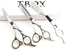 """6""""Professional Hair Cutting Scissors Barber Shears Hairdressing Razor Skull Kit"""