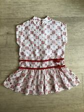 Vintage Christmas Red Flocked Girls Party Dress White Holiday Drop Waist Sheer