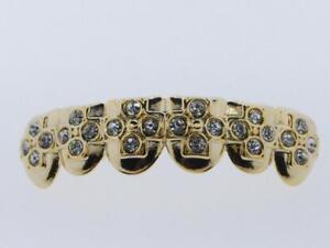 Mens & Ladies Brass 14k Yellow Gold Finish Simulated Diamond Hip Hop Grillz L016