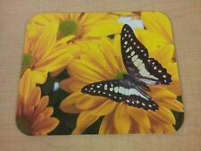 Butterfly Mouse Pad - Bright Yellow Flowers Butterfly